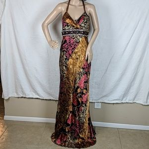 Mary L Couture Bias Cut Halter Evening Gown